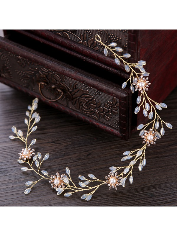 Graceful Leaf Shape Rhinestone Pearl Wedding Hairband