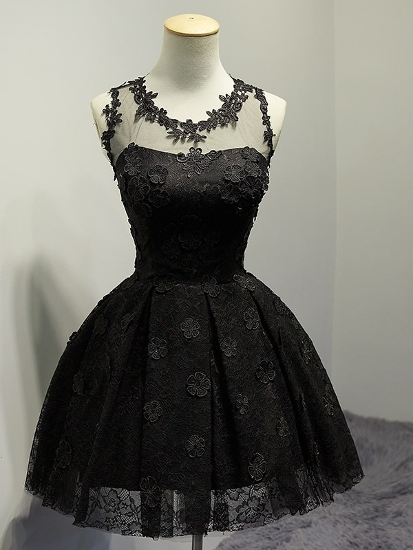 A-Line Appliques Lace Scoop Short Homecoming Dress