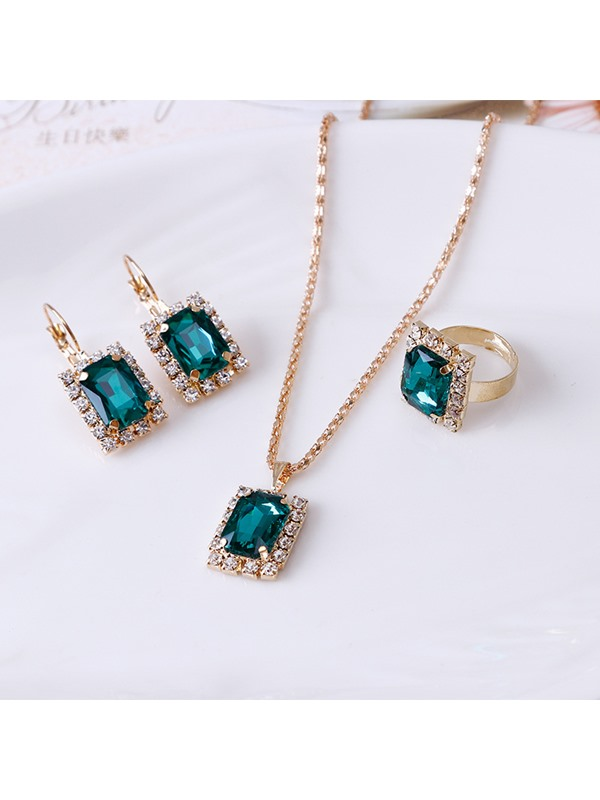 Square Ruby Embellished Three-Piece Party Jewelry Sets