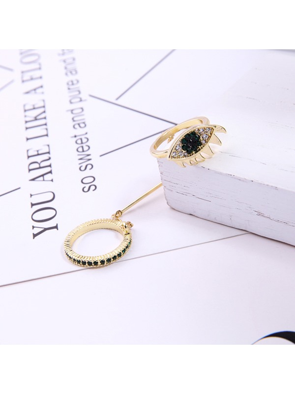 Evil Eye Shape Personalized Conjoined Ring