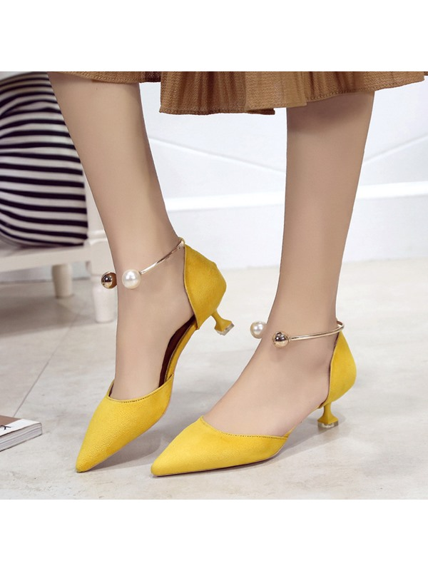Faux Suede Pointed Toe Stiletto Heel Women's Sandals