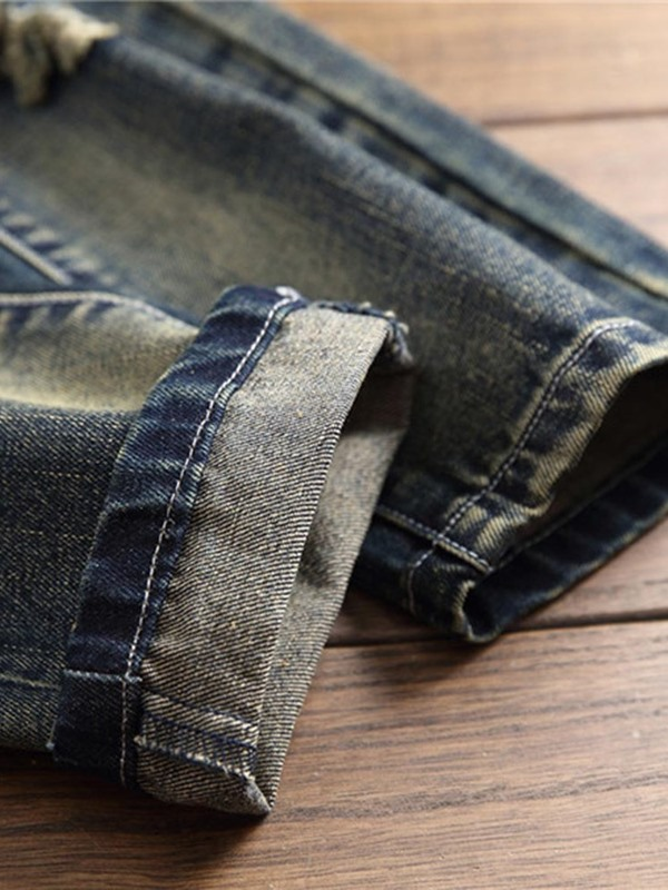 Vintage Hole Worn Men's Ripped Jeans