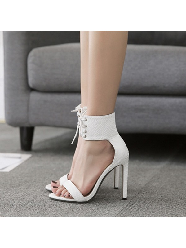 PU Lace-Up Strappy Stiletto Heel Women's Sandals