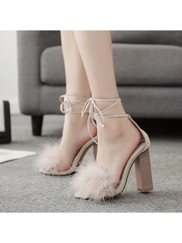 PU Lace-Up Chunky Heel Women's Sandals