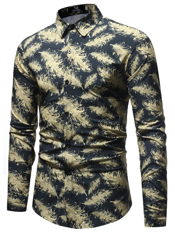Tidebuy Feather Print Button Up Men's Casual Shirt