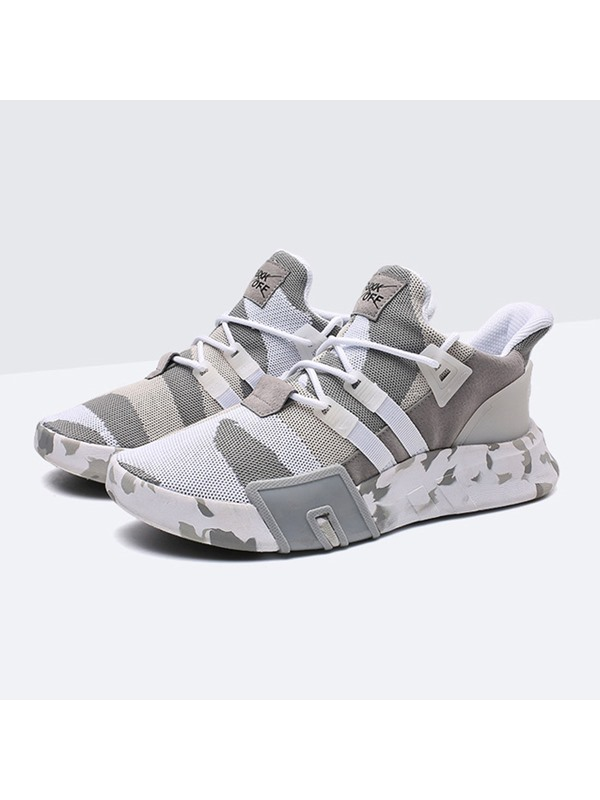 Mesh Camouflage Round Toe Lace-Up Men's Sneakers