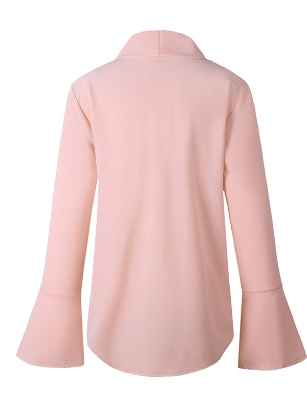 Long Flare Sleeve Bowknot Plain Women's Blouse