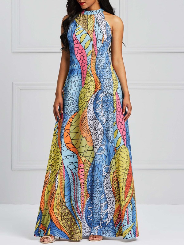 Tidebuy Expansion Western Geometric Women's Maxi Dress