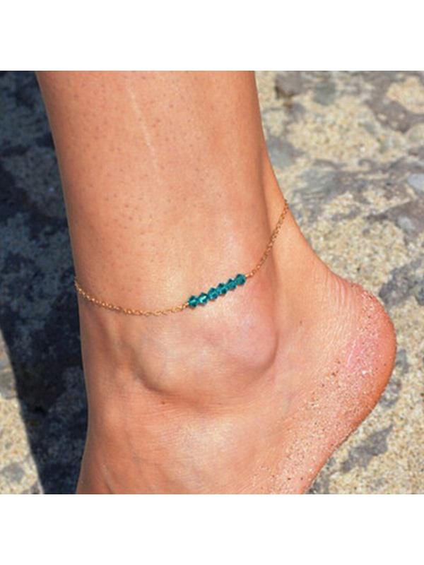 Concise Bead Thin Metal Anklets