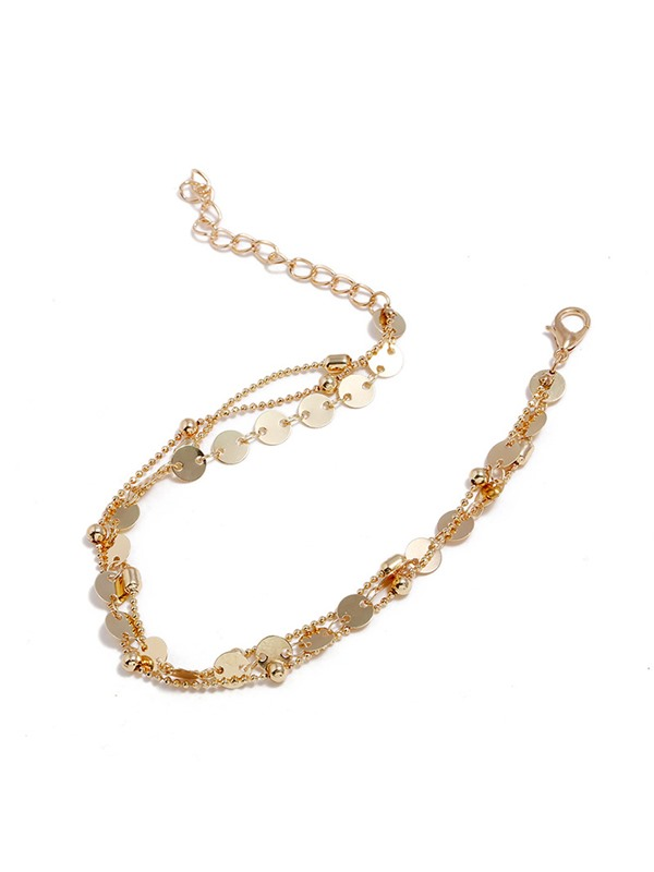 Retro Sequins Bead Metal Multi-Layer Anklets