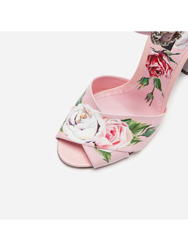 Floral Peep Toe Chunky Heel Women's Sandals