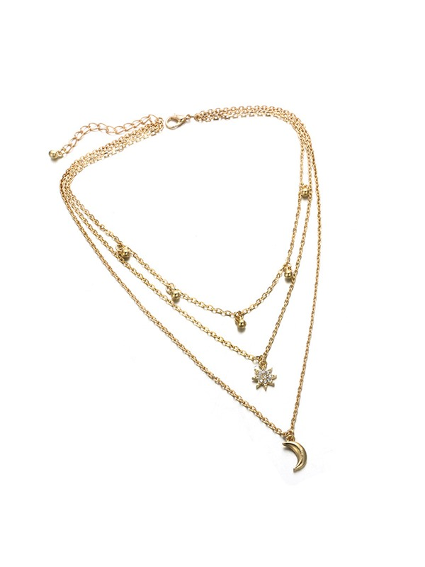 Moon Shape with Beads Alloy Gold Layered Necklace