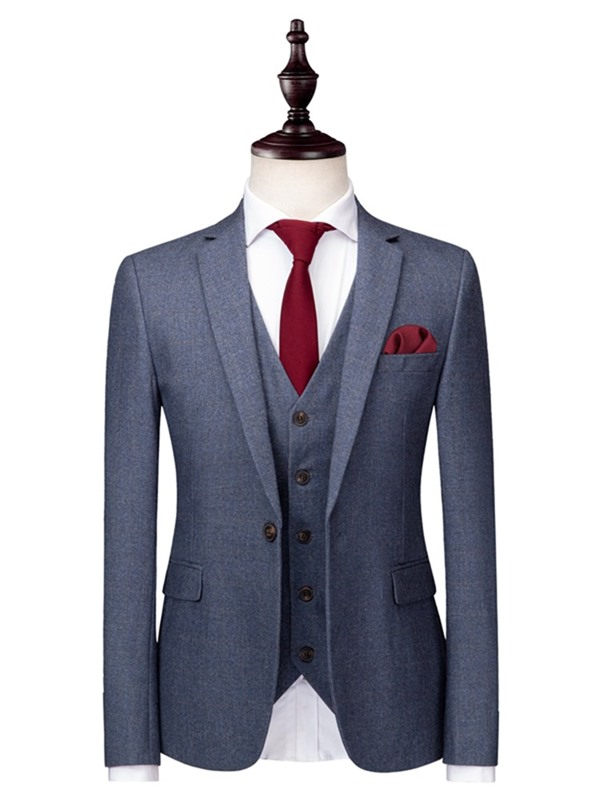 Tidebuy 3 Pieces Plain Men's Formal Suit