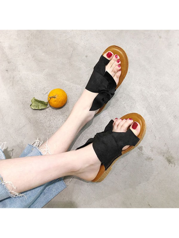 Bow Toe Ring Block Heel Women's Flat Sanddals