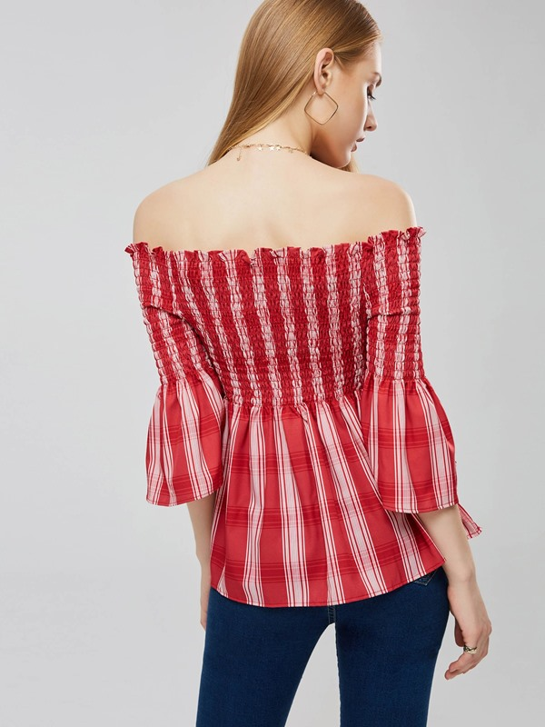 Off Shoulder Striped Elastic Women's Blouse