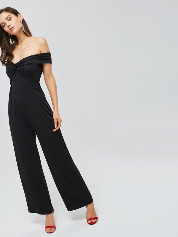 Off Shoulder Backless Pleated Women's Jumpsuit