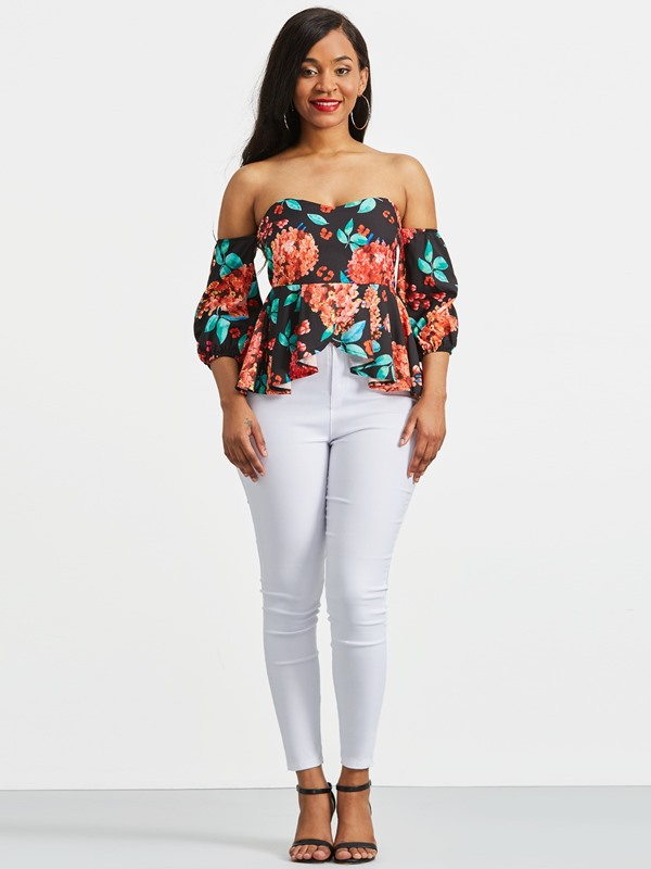Off Shoulder Floral Backless Women's Blouse