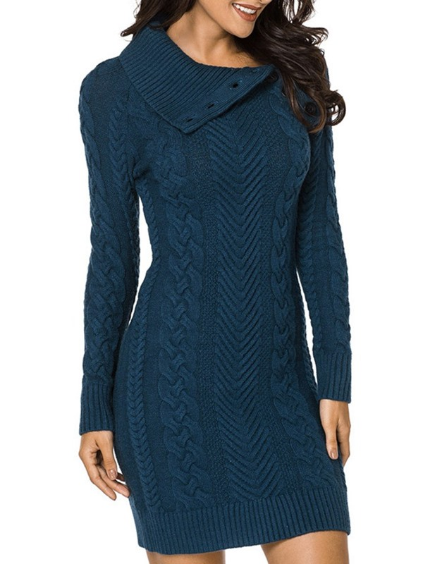 Elegant Winter Pullover Women's Sweater Bodycon Dress