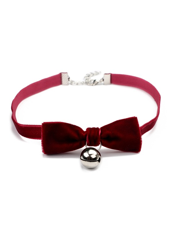 Goth Velvet Strap with Bell Bow-Knot Choker Necklace