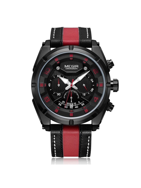 Analog Display Color Block Band Men's Watch