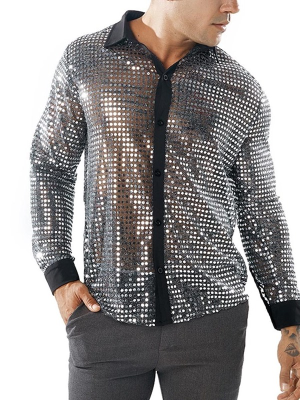 Sequins Hollow See-Through Slim Men's Shirt