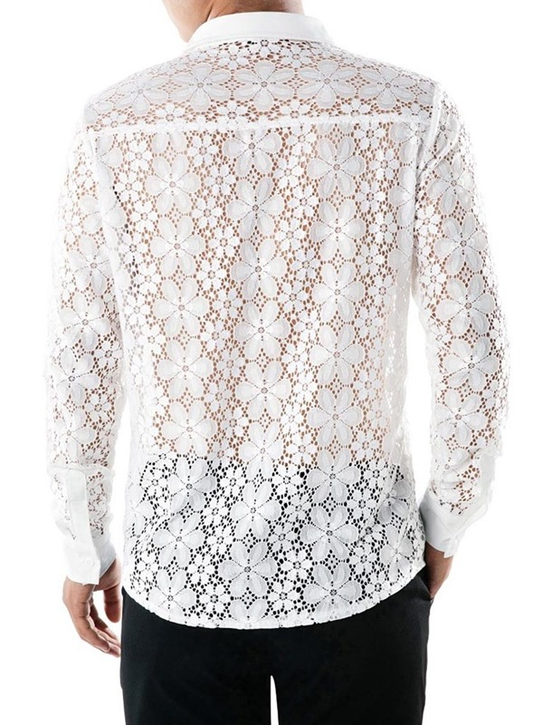 Lace Hollow Plain Single-Breasted Men's Shirt