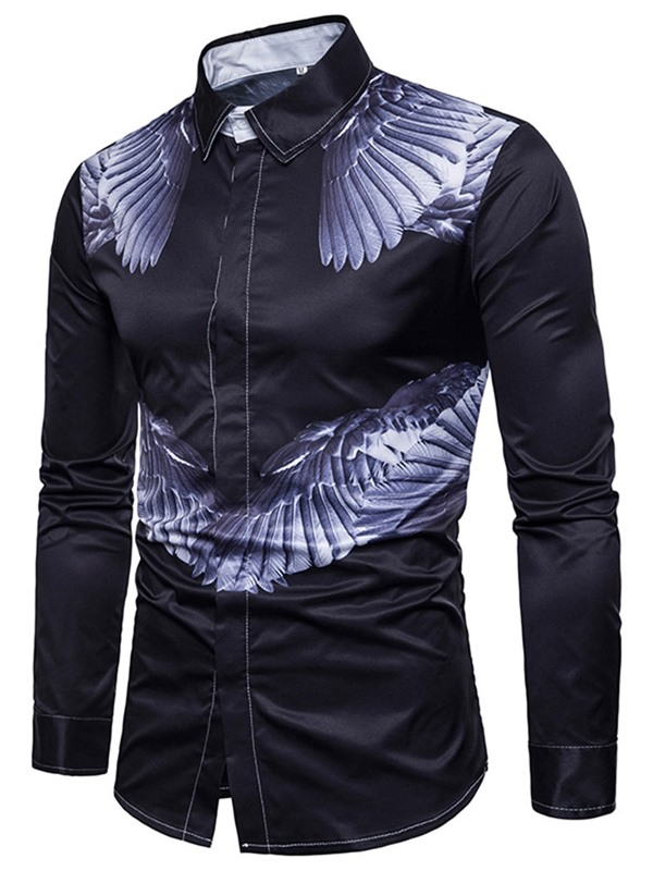 Wing Print Black Single-Breasted Men's Casual Shirt