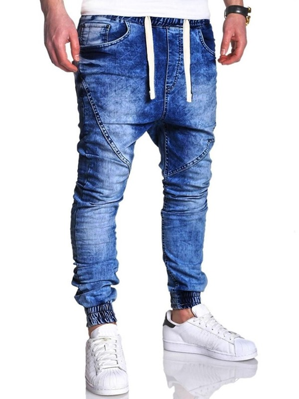Gradient Worn Lace-Up Men's Jeans