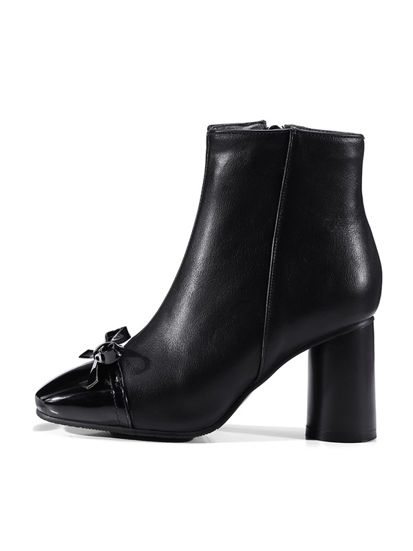 Bow Square Toe Chunky Heel Women's Boots