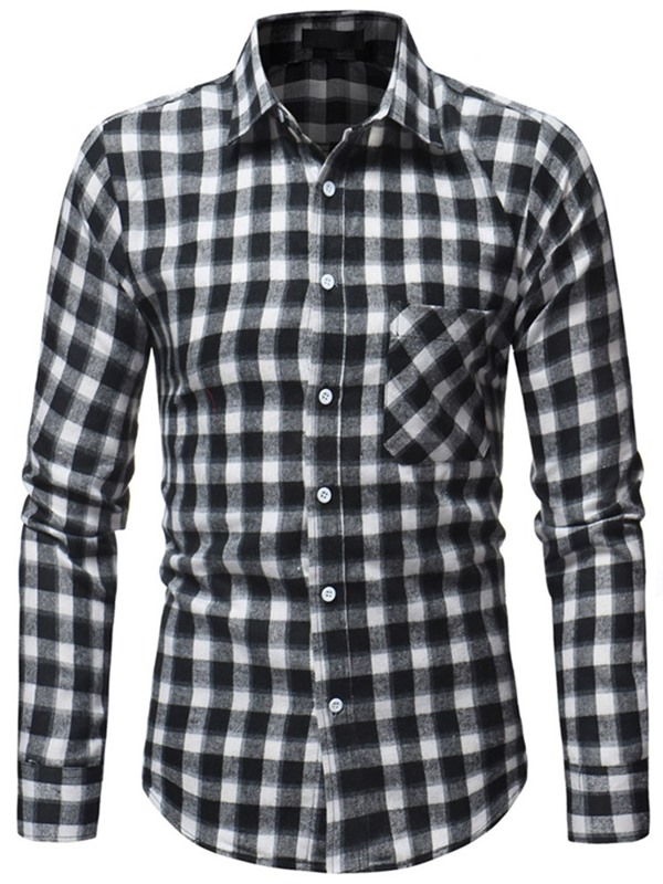 Color Block Plaid Single-Breasted Men's Casual Shirt