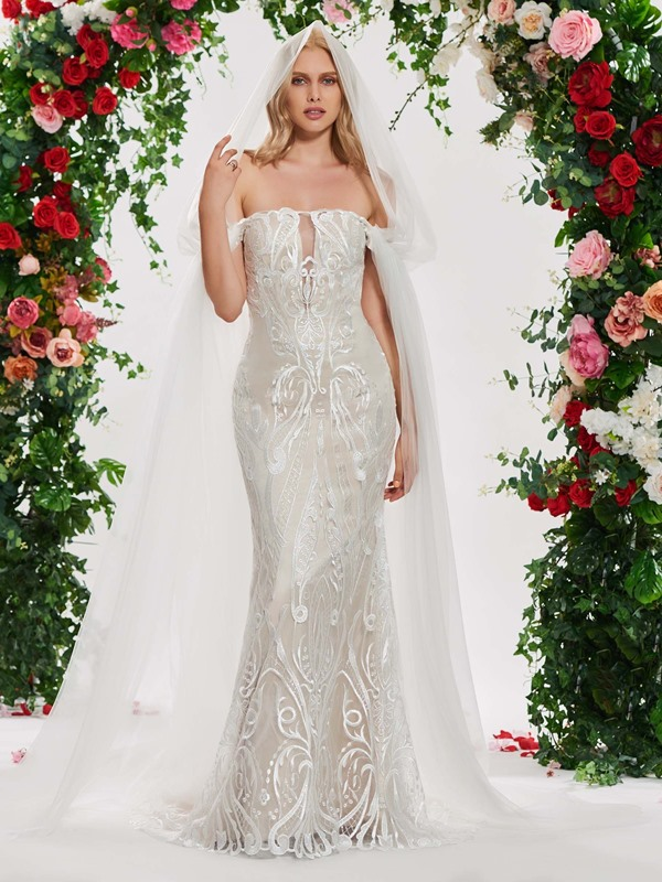 Off the Shoulder Mermaid Lace Wedding Dress 2019 with Shawl