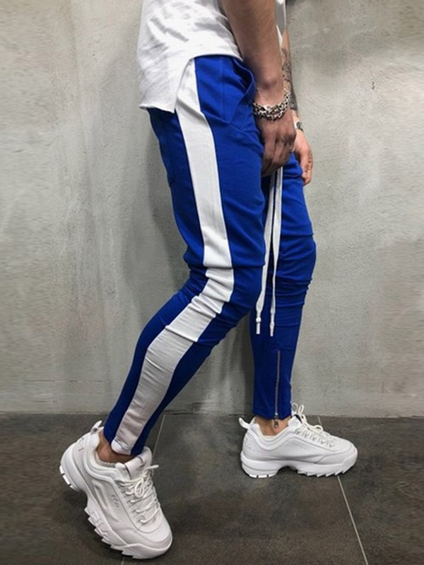 Side Stripe Lace-Up Patchwork Men's Casual Sports Pants