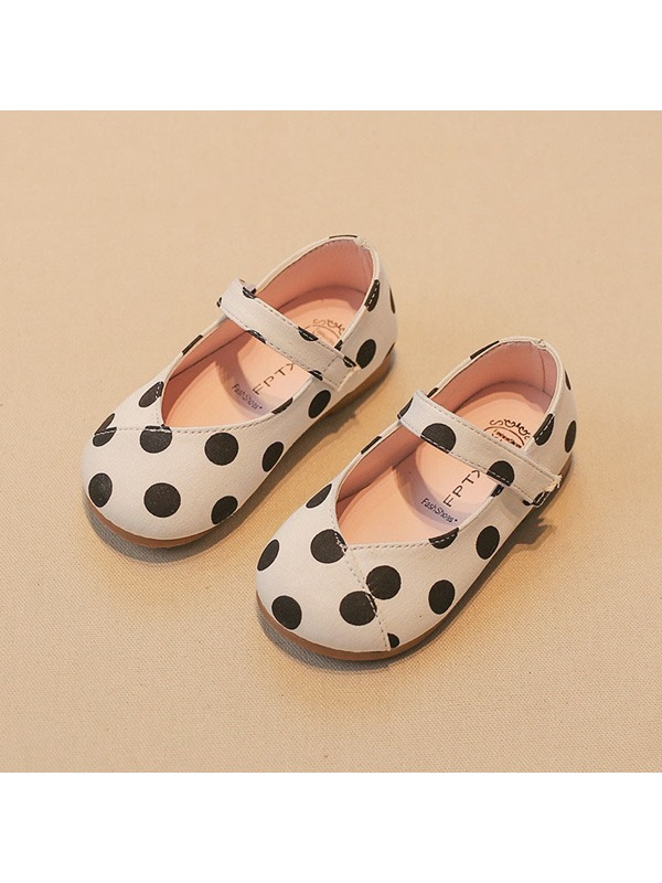 Polka Dot Velcro Block Heel Kid's Shoes