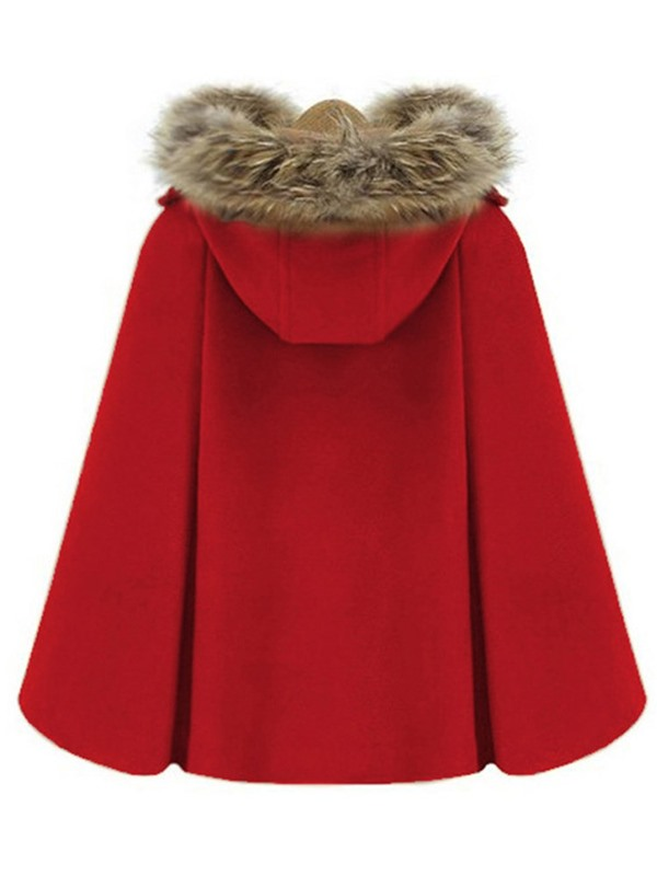 Faux Fur Wool Blends Hooded Double-Breasted Women's Cape Coat