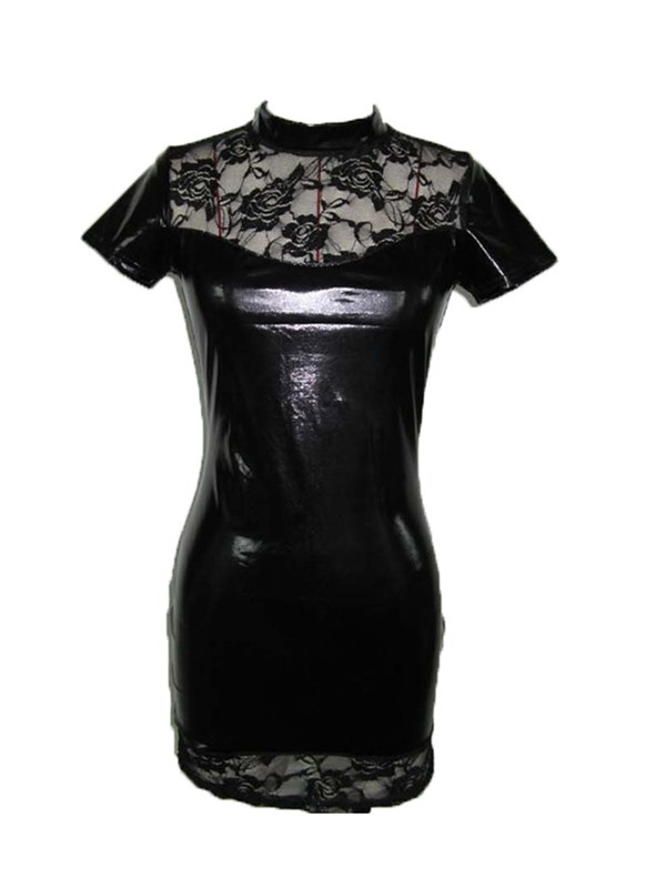 Patent Leather Lace Short Sleeve Sexy Tight Short Dress