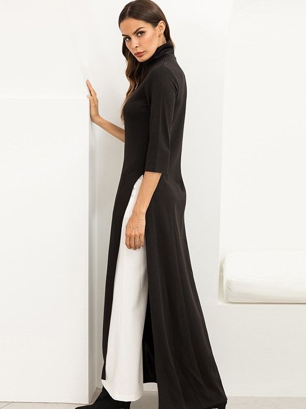 Color Block Elegant Fall Women's Maxi Dress