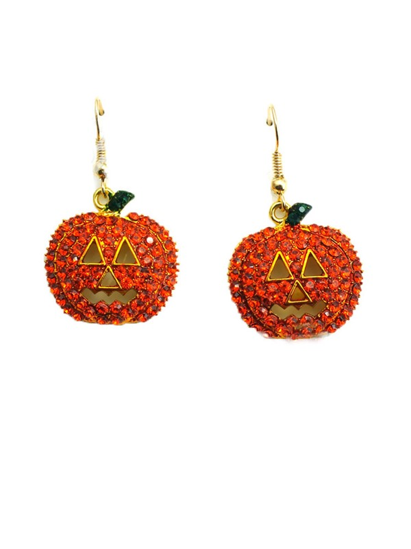 Pumpkin Shape Red Rhinestone Halloween Prom Drop Earrings