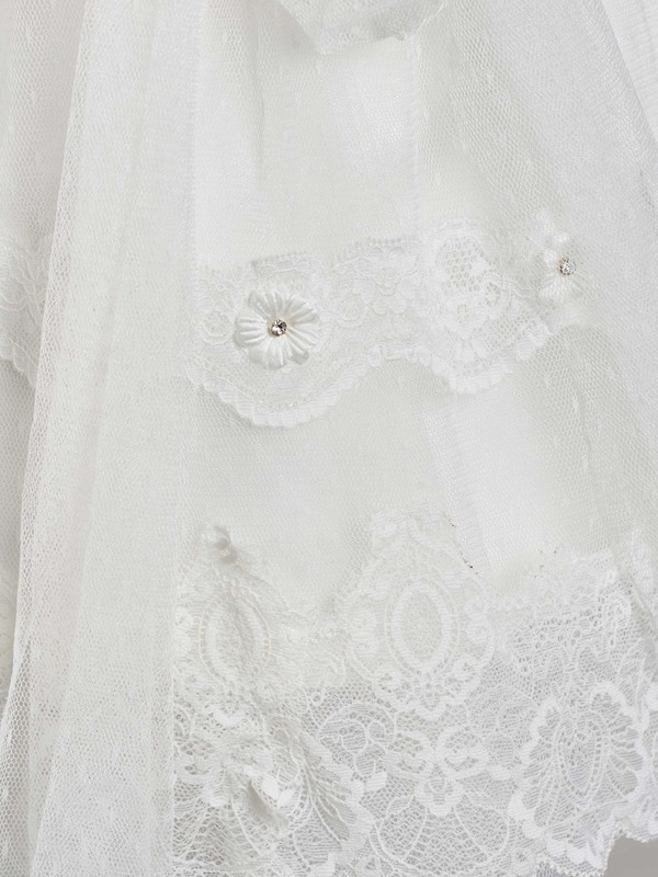 Sleeves Lace Baby Girl's Christening Gown with Headband