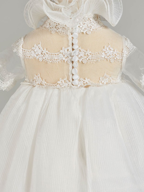 High Neck Short Sleeve Lace Baby Girl's Christening Gown