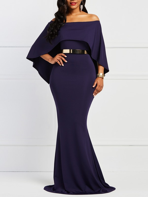 Batwing Sleeve Polyester Backless Women's Maxi Dress