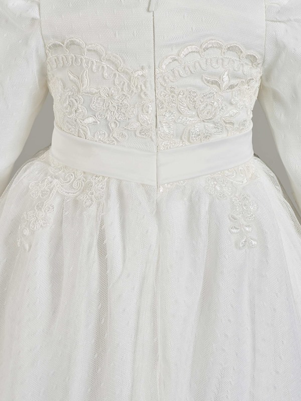Appliques Long Sleeve Baby Girl's Christening Gown