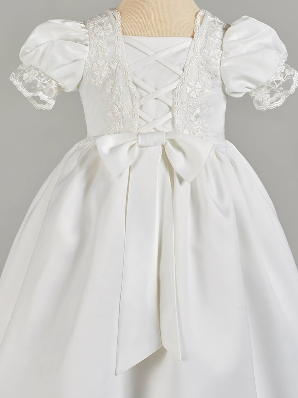 Lace-Up Appliques Baby Girl's Christening Gown