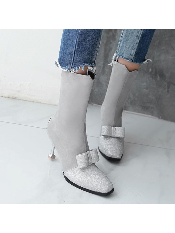 Bow Square Toe Stiletto Heel Women's Ankle Boots