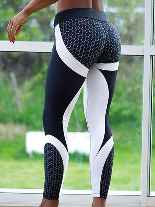 Color Block Honeycomb Print Women's Yoga Leggings