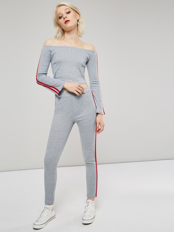 Stripe Off Shoulder Skinny Top and Pants Women's Suit