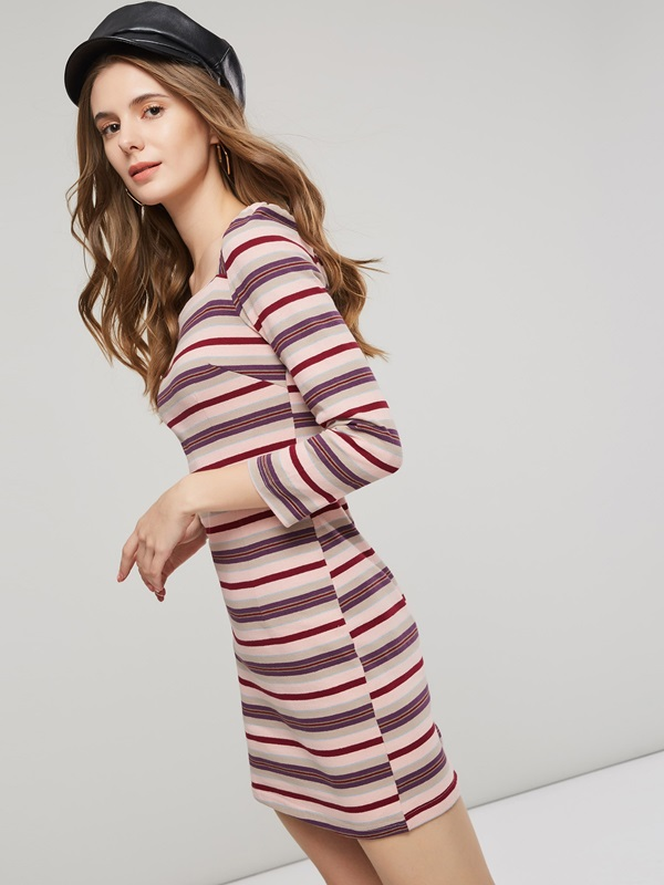 Square Neck Striped Women's Bodycon Dress