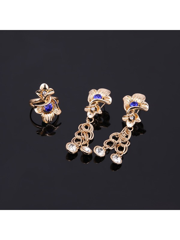 Floral Shape Sapphire Decorated Golden 4-Pcs Jewelry Set