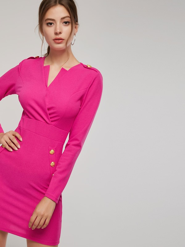 Long Sleeve Button Women's Bodycon Dress