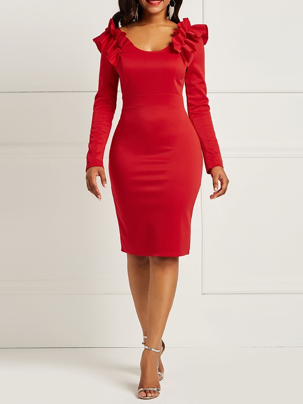 Round Neck Pullover Polyester Women's Bodycon Dress