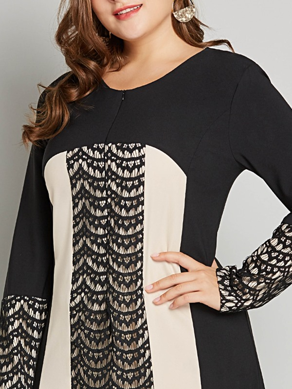 Plus Size Long Sleeve Polyester Lace Women's Maxi Dress